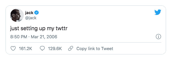 The first tweet by Jack Dorsey