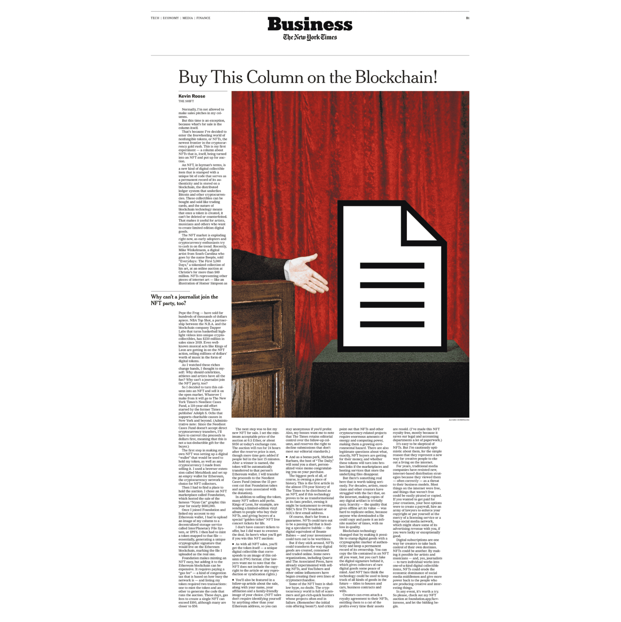The New York Times x NFT by Kevin Roose